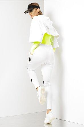 Hanorac alb scurt cu imprimeu negru