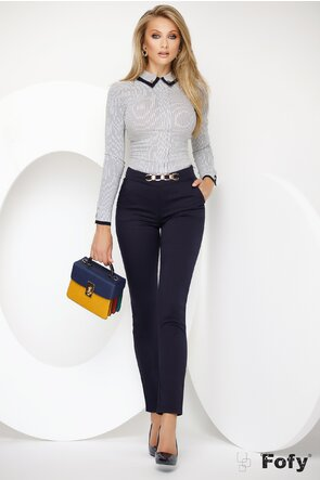 Pantalon Fofy bleumarin din material premium cu accesoriu auriu