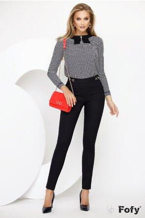 Pantalon Fofy negru din material premium cu doua catarame laterale