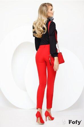 Pantalon Fofy rosu cu nervura si croiala conica