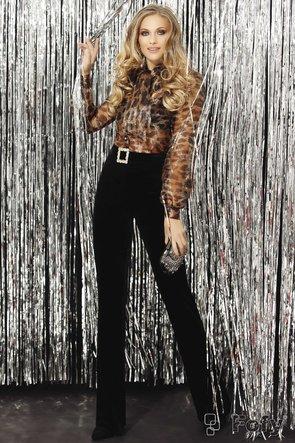 Pantaloni Fofy evazati din catifea neagra cu catarama din cristale aurii inclusa