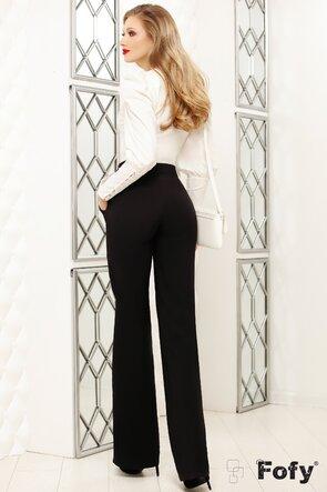Pantaloni Fofy negri cu dungi si funda ecru