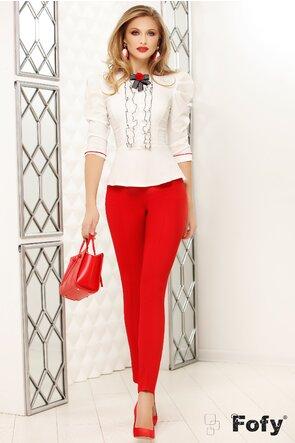 Pantaloni Fofy rosii talie medie cu nervura