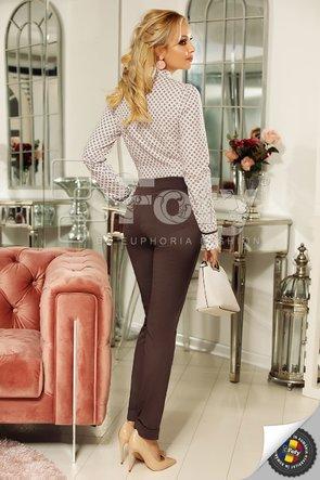 Pantaloni gri din bumbac cu talie medie
