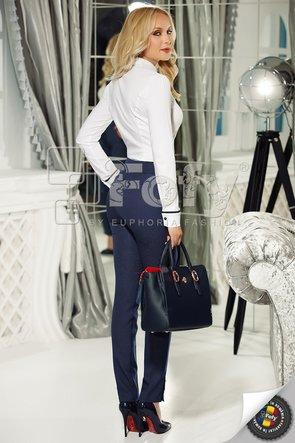 Pantaloni pană bleumarin cu buline