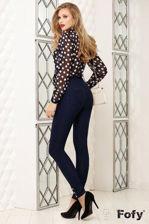 Pantaloni pană bleumarin cu nasturi decorativi