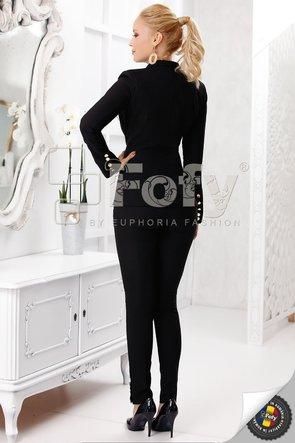 Pantaloni pană negri cu nasturi decorativi