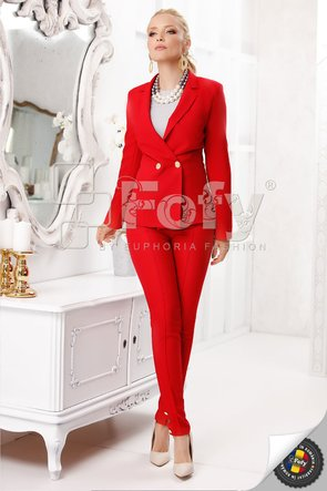Pantaloni pană roșii cu nasturi decorativi