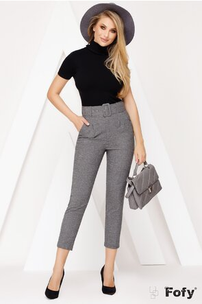 Pantaloni stofa gri melanj cu pense fine si centura inclusa
