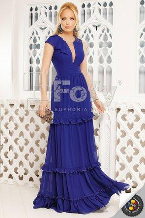 Rochie albastră lungă cu volane