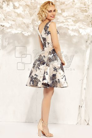 Rochie amplă din brocart auriu cu bleumarin metalizat