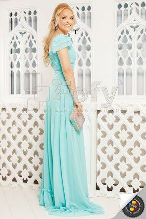 Rochie aqua elegantă cu bust cu fronseuri