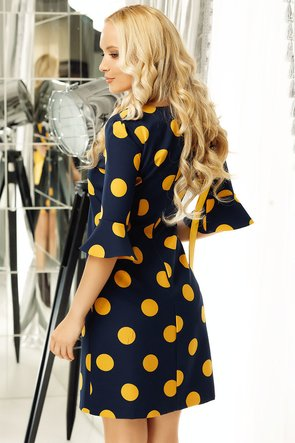 Rochie bleumarin cu buline galben muștar