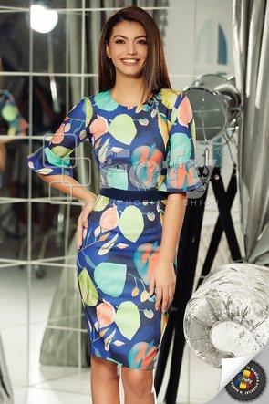 Rochie bleumarin cu print digital și mânecă clopot