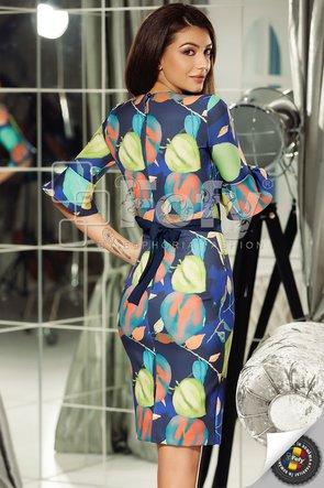 Rochie bleumarin mulată cu print digital și mânecă clopot