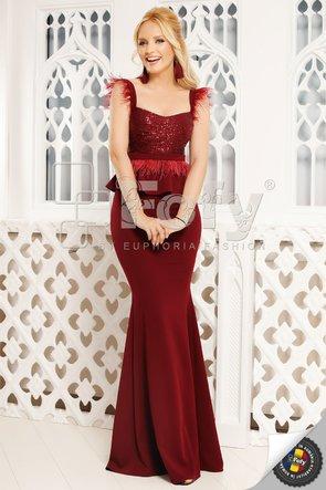 Rochie bordo lungă cu paiete și fulgi