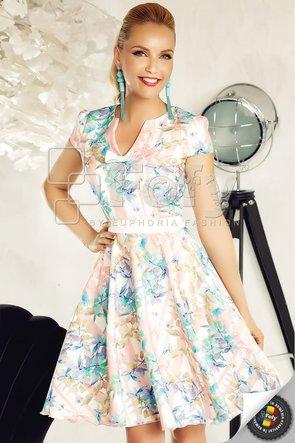 Rochie casual amplă cu imprimeu botanic stilizat