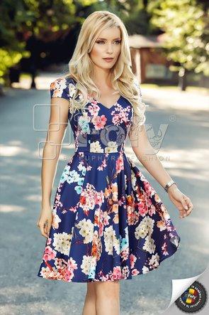 Rochie casual bleumarin cu print floral maxi și decolteu în V