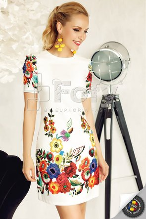 Rochie casual cu imprimeu cu efect optic de broderie florală 3D