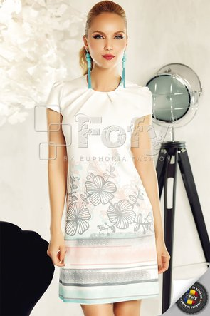 Rochie casual cu model floral stilizat și dungi delicate