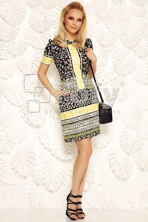 Rochie Fofy casual cu imprimeu grafic galben-negru