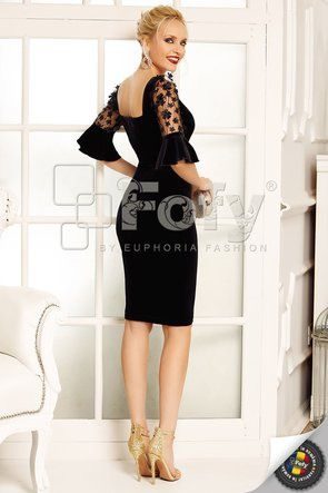 Rochie conică cu mânecă din dantelă cu aplicații 3D