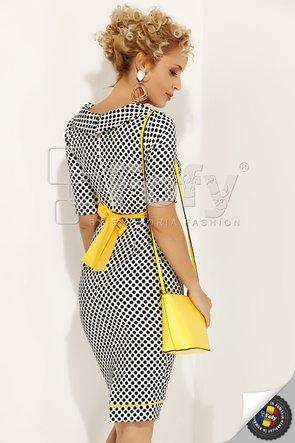 Rochie Fofy cu buline bleumarin și cordon galben