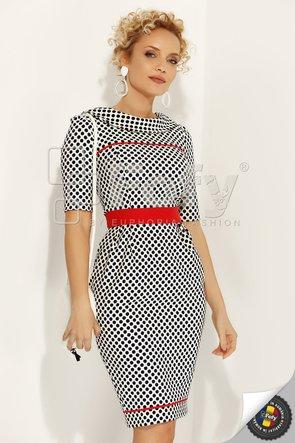 Rochie cu buline bleumarin și cordon roșu