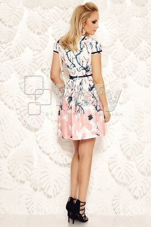 Rochie cu imprimeu floral roz și decolteu petrecut