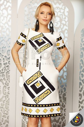 Rochie cu imprimeu geometric negru și galben