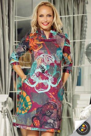 Rochie cu print artistic multicolor
