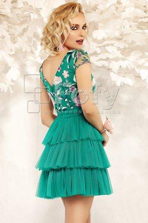Rochie de ocazie din tulle verde și dantelă brodată