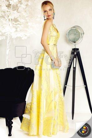 Rochie de ocazie lungă din brocart galben spectaculos