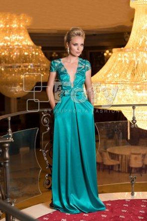 Rochie de ocazie lungă din dantelă și tafta verde