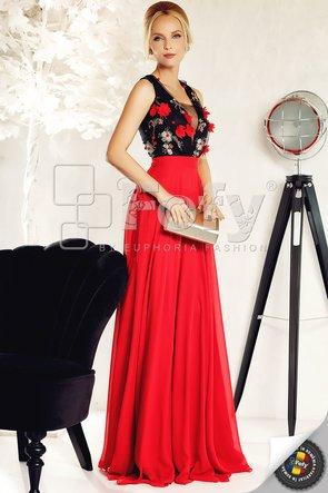 Rochie de ocazie lungă din voal roșu și broderie 3D