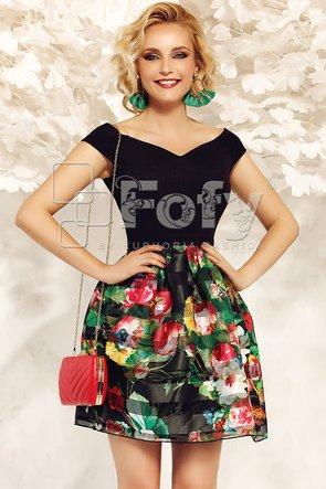 Rochie de ocazie neagră cu imprimeu floral maxi