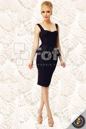 Rochie de ocazie neagră cu peplum și decolteu inimă