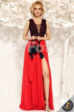 Rochie de ocazie roșie lungă cu despicătură și broderie cu floricele 3D