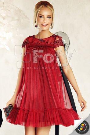 Rochie de ocazie scurtă bordo cu perle și volănașe decorative