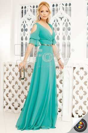Rochie de ocazie turquoise cu volănașe și decolteu petrecut