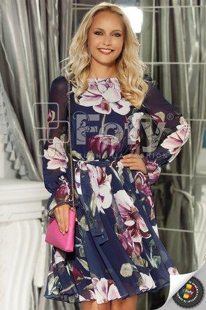 Rochie din voal bleumarin cu flori maxi