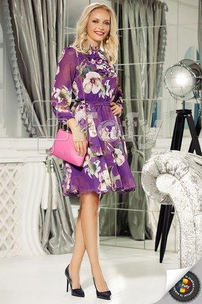 Rochie din voal mov cu imprimeu floral și jabou