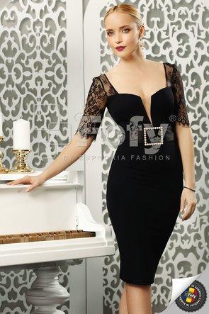 Rochie elegantă cu mânecă din dantelă și cataramă cu perle