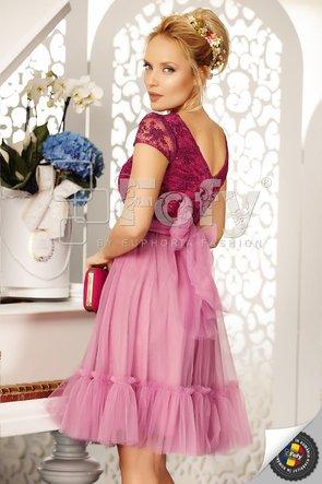 Rochie elegantă mov cu bust din dantelă prețioasă