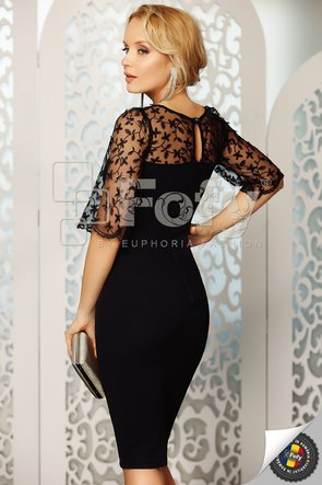 Rochie elegantă mulată, cu bust și mânecă din dantelă 3D