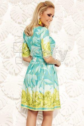 Rochie feminină turquoise cu mix de imprimeuri florale