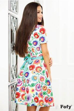 Rochie Fofy cu imprimeu multicolor și cordon turquoise