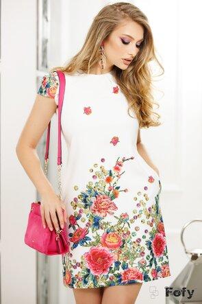 Rochie Fofy ecru imprimeu floral multicolor, croi lejer cu pliuri la decolteu