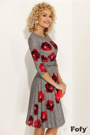 Rochie Fofy gri imprimeu floral cu fusta plisata