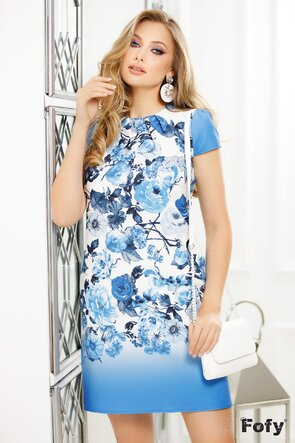 Rochie Fofy imprimeu floral albastru croi lejer cu pliuri la decolteu